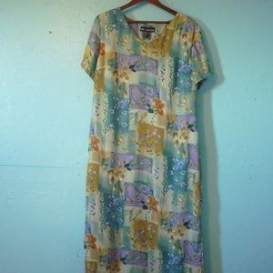Green & Purple Floral Sheer Dress Size 16 #1012